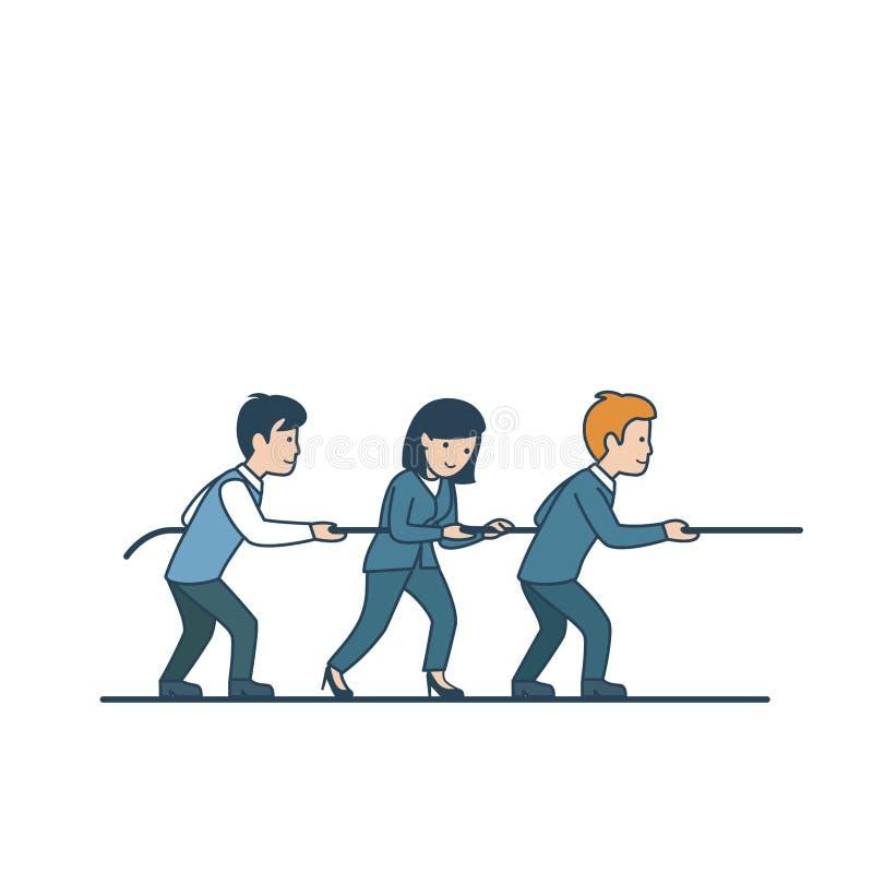 Linear Flat Business teamwork man woman pulling ro royalty free illustration