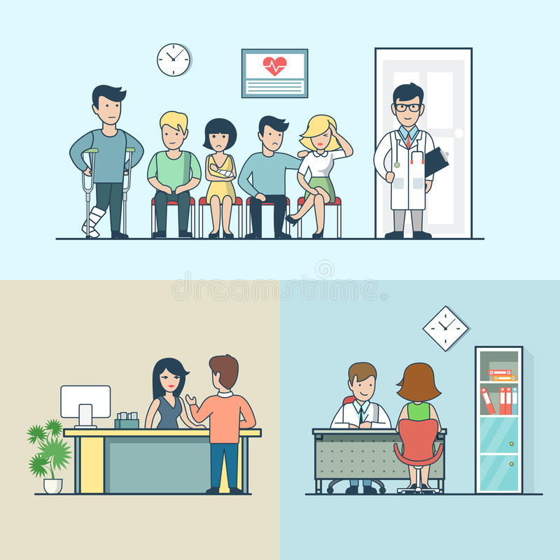 Linear Flat clinic doctor patient lag hand headache stock illustration
