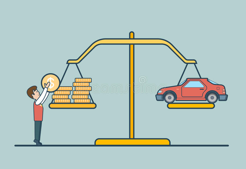 Linear Flat coin car scale, man libra vector. Prop. Linear Flat Dollar coins and car on scales, man putting coin to balance libra vector illustration. Property royalty free illustration
