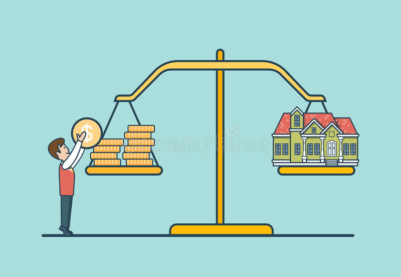 Linear Flat coin house scale, man libra vector. Re. Linear Flat Dollar coins and house on scales, man putting coin to balance libra vector illustration. Real vector illustration
