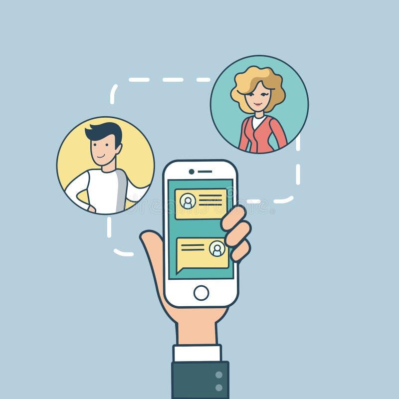 Linear Flat correspondence phone screen vector stock illustration