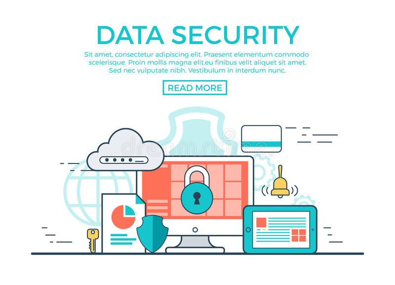 Linear flat Data Security infographics vector. App royalty free illustration