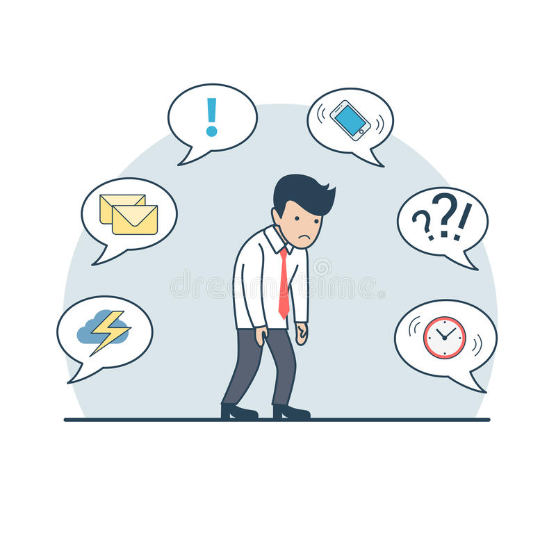 Linear Flat deadline man phone cloud mail clock ch. Linear Flat tired businessman shambles from fatigue; phone, storm cloud, mail, clock on chat babbles around vector illustration