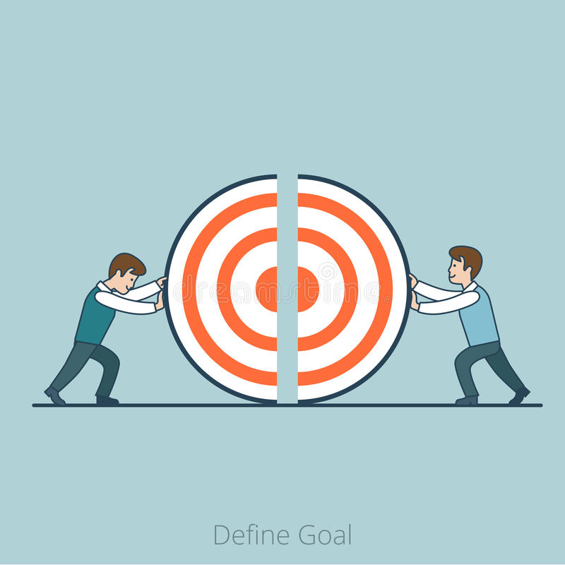 Linear Flat Define Goal Business men pushing. Linear Flat Businessmen pushing target piece part to connect into whole one vector illustration. Define Goal vector illustration