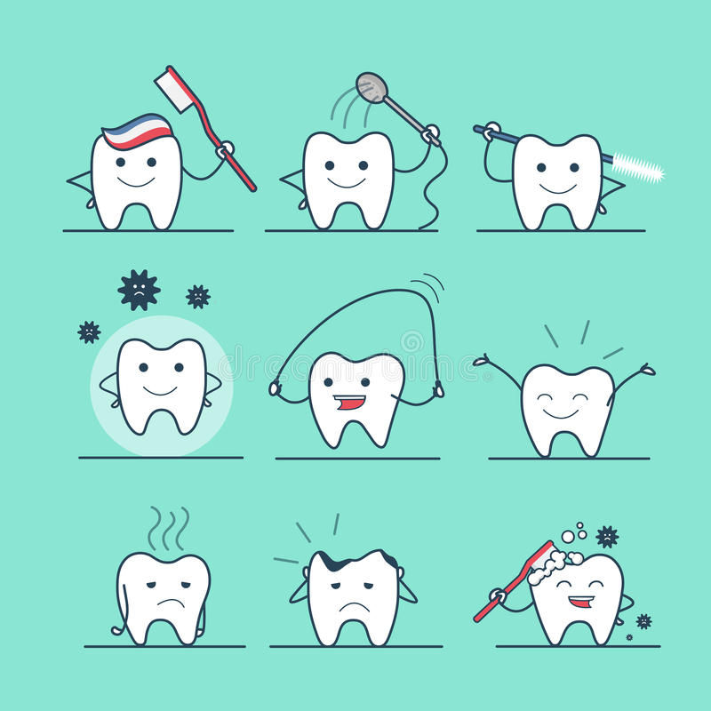 Free Linear Flat Dental Health Care Tooth Flossing Cari Stock Image - 78231411