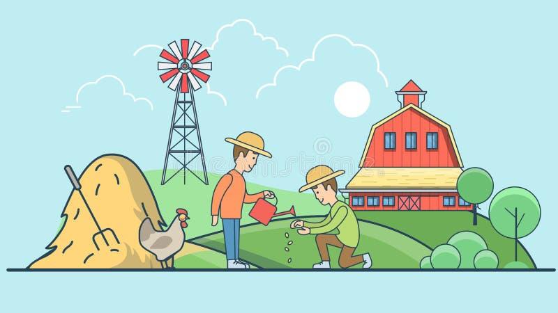 Linear Flat farmer men grow seed watering farm vec royalty free illustration
