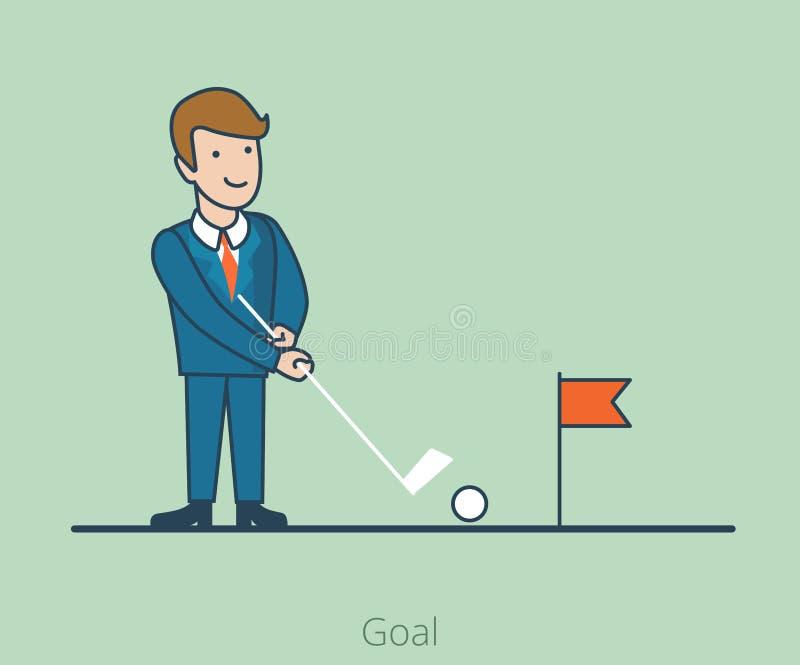 Linear Flat Goal Business man stroke hole golf. Linear Flat Businessman stroke to hole, golf field vector illustration. Goal achievement business concept stock illustration