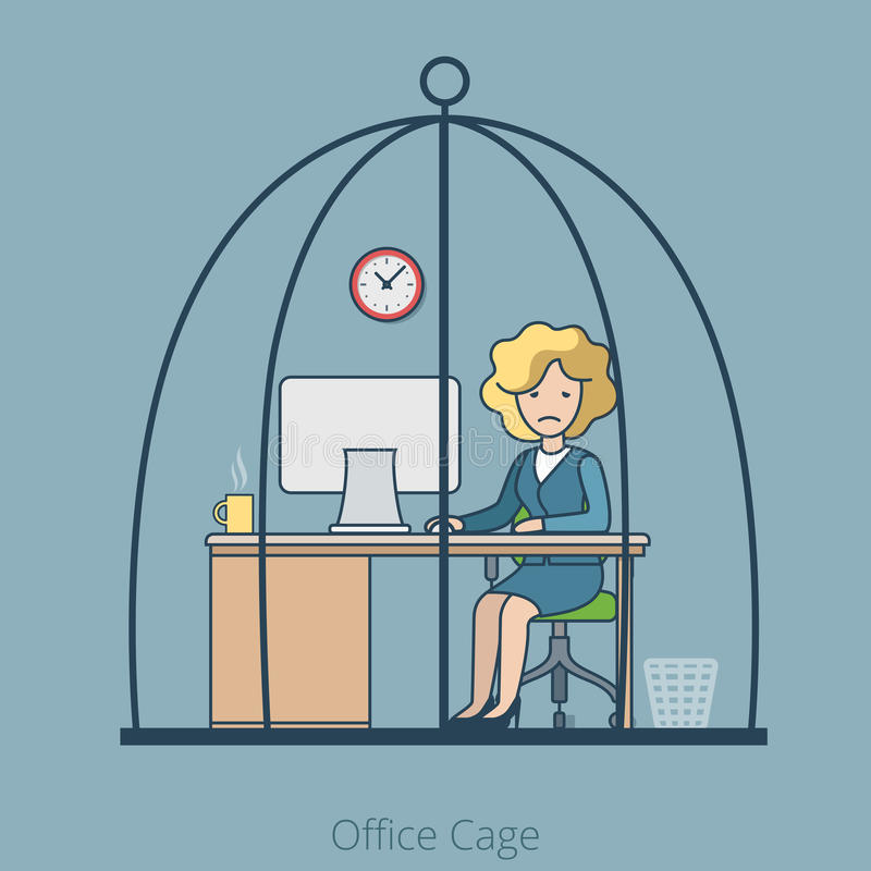 Linear Flat Hard work Business woman sit Cage. Linear Flat Sad Businesswoman sitting in Cage, Office room interior vector illustration. Hard working business vector illustration