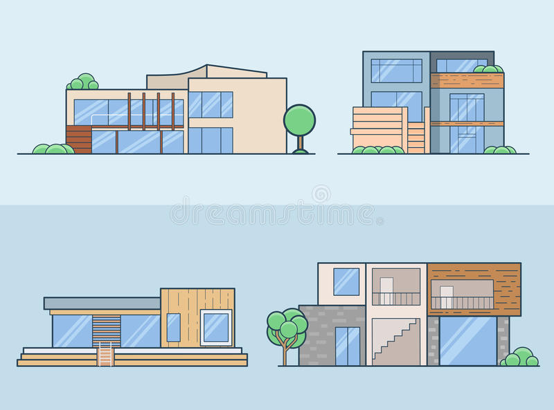 Linear Flat House model front side view vector set vector illustration