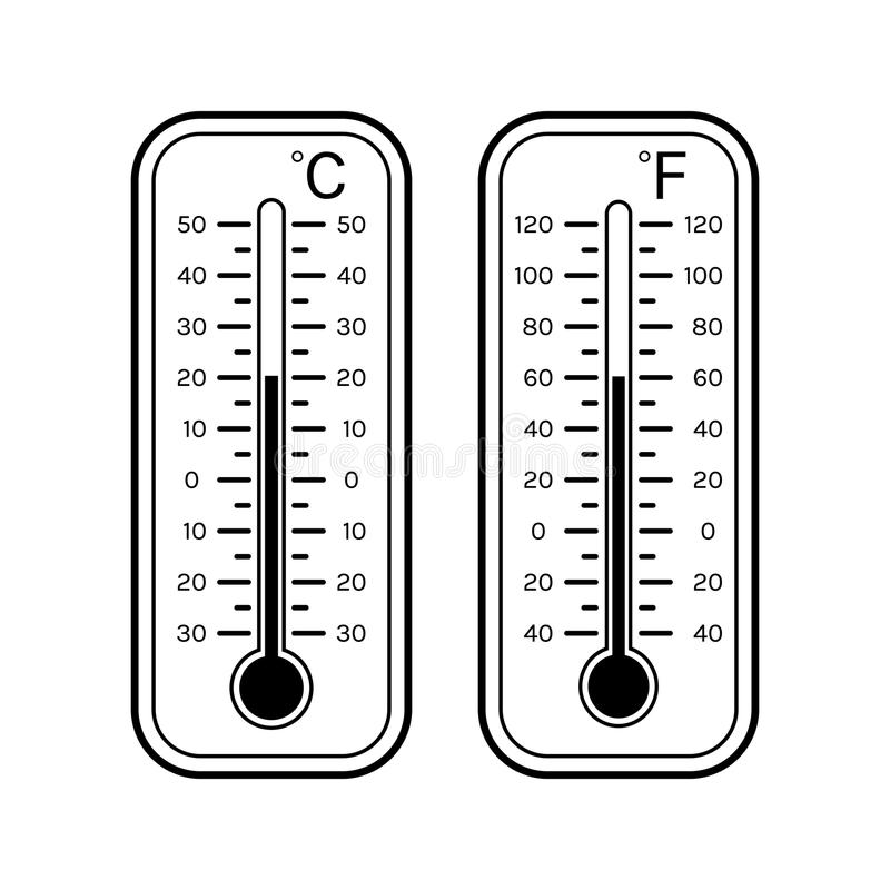 Linear Flat Icons Of Thermometers For Weather. Scale ...