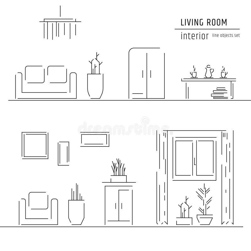 Linear Flat Interior Design Illustration Of Modern Designer Living ...
