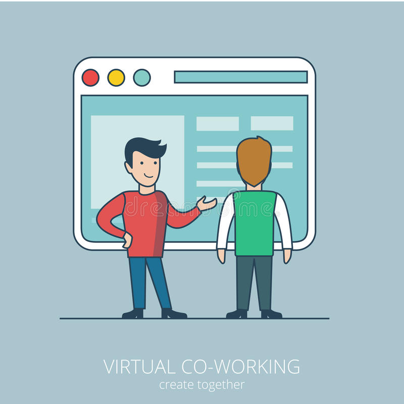 Linear flat line art virtual coworking business ve. Linear flat line art style virtual coworking business concept. Two male businessman standing before big stock illustration