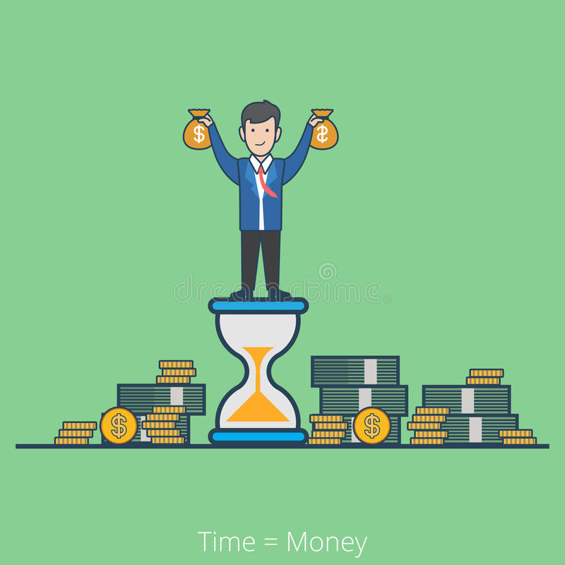 Linear flat line time is money business man vector. Linear flat line art style time is money business concept. Businessman on hourglass holding moneybags stacks royalty free illustration