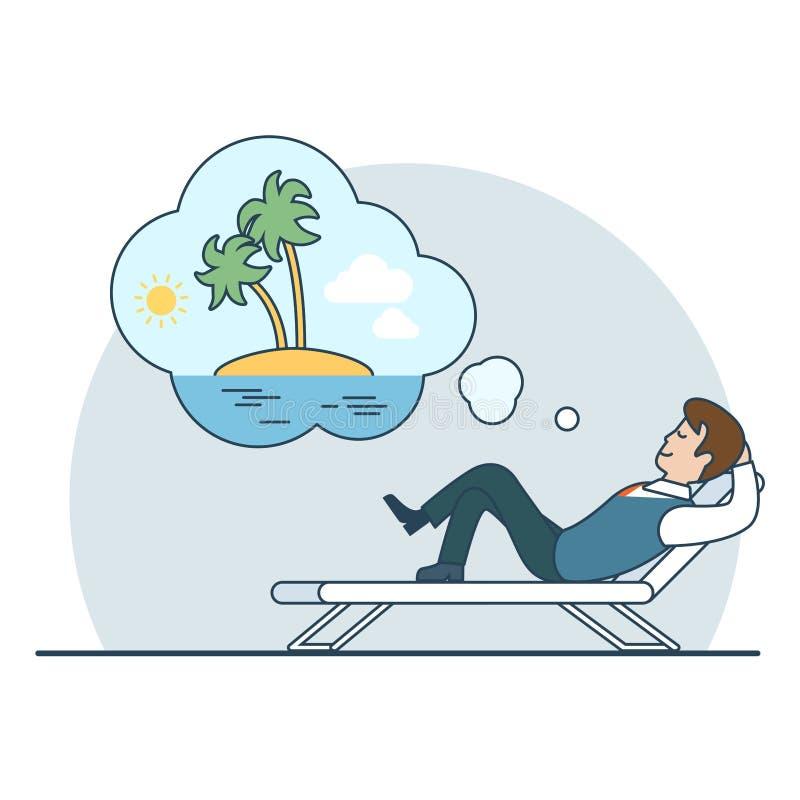 Linear Flat Man dream vacation island vector. Linear Flat Businessman dreaming vacation on an uninhabited island vector illustration. Business overwork concept vector illustration
