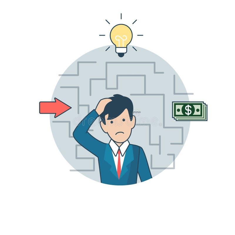 Linear Flat Man thinking deposit lamp money vector illustration