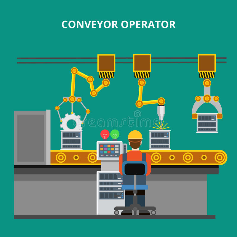 Linear Flat manufacture conveyor line equipment. Flat industrial manufacture line conveyor with robotized equipment and process controller vector illustration vector illustration