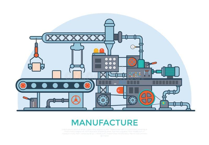 Linear Flat manufacture conveyor machine product p stock illustration
