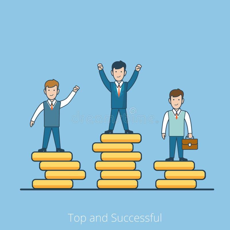 Linear Flat men Top coin pedestal vector Successful vector illustration