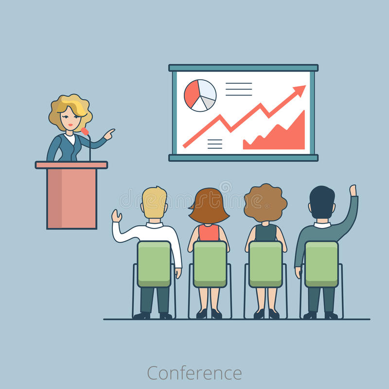 Linear Flat office Business Conference Speaker. Linear Flat office Conference Speaker on tribune and people listening vector illustration. Business concept vector illustration