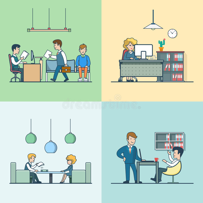 Linear Flat Office life Business meeting interview. Linear Flat Business meeting, routine work, interview with manager and babble break vector illustration set stock illustration