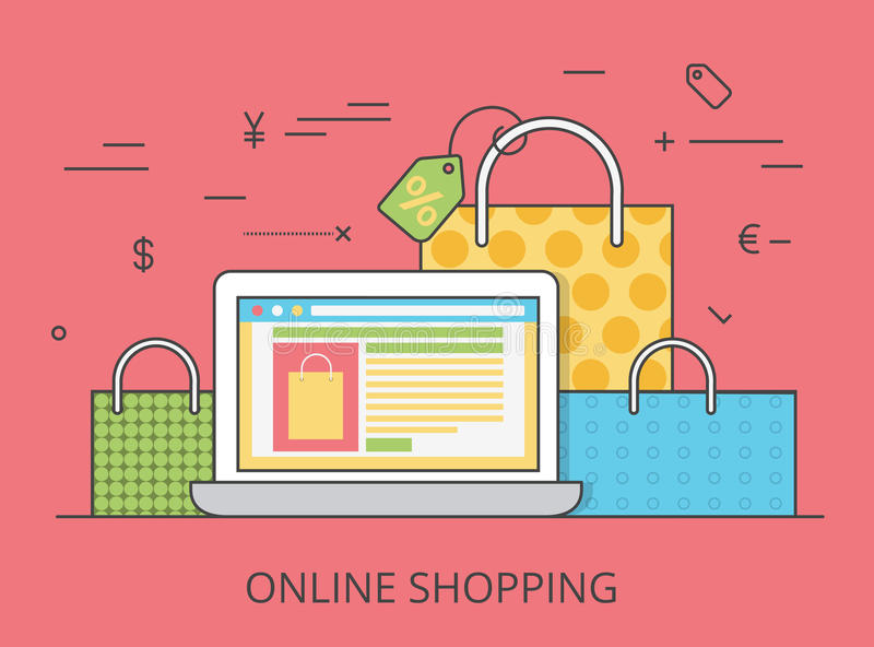 Linear Flat online shopping website vector illustr. Linear Flat online shopping website hero image vector illustration. E-commerce business, sale and consumerism stock illustration