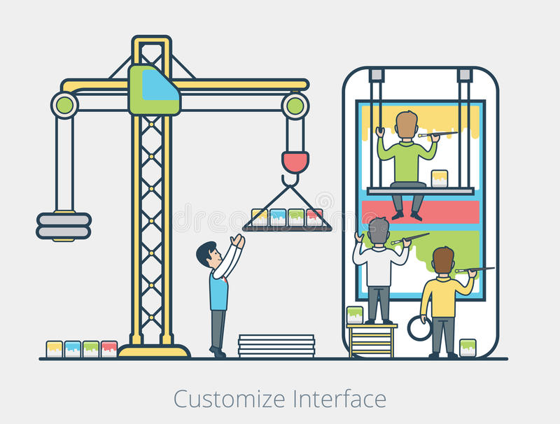 Linear Flat people team block mobile interface. Linear Flat micro people team painting blocks on mobile screen, leader managing process vector illustration. User stock illustration
