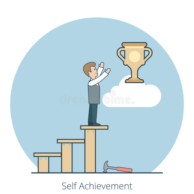 Linear Flat Self Achievement man stairs reach cup vector illustration