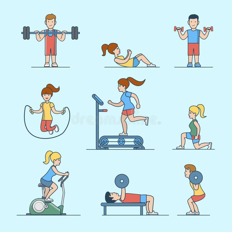 Linear Flat Sport health life website Woman man ex. Linear Flat Sport workout health life concepts set for website hero images. Woman, man pumping iron training vector illustration