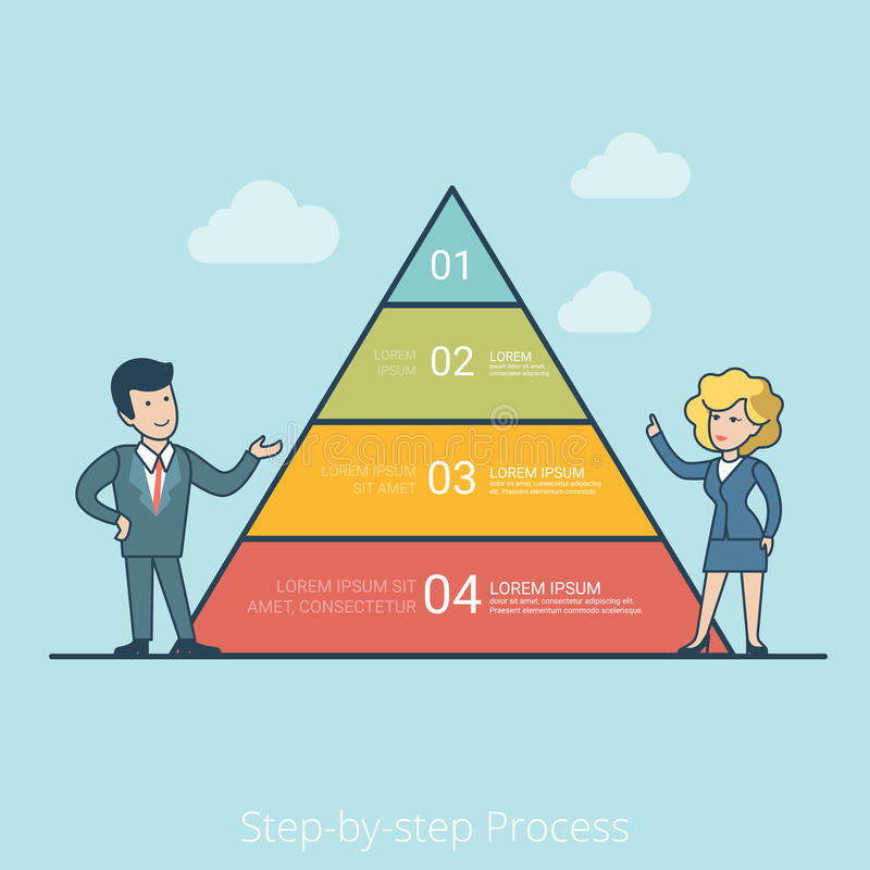 Linear Flat Step Process man woman pyramid chart stock illustration