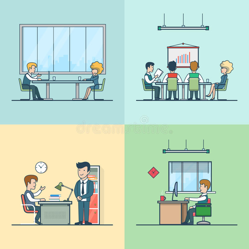 Linear Flat Team boss man woman at working place stock illustration