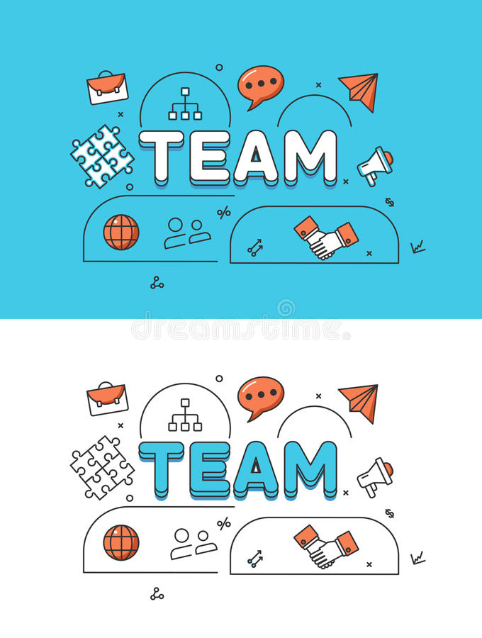 Linear Flat TEAM human silhouettes icons image royalty free illustration