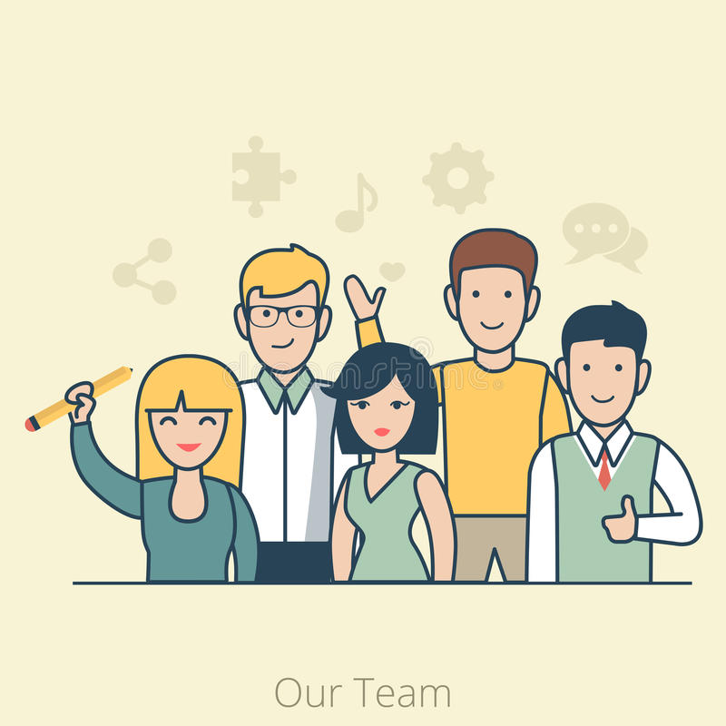 Linear Flat Team of young man and woman vector royalty free illustration
