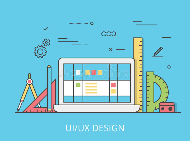Linear Flat UI/UX interface design web site vector. Linear Flat UI/UX interface design web site hero image vector illustration. User experience, projecting and vector illustration