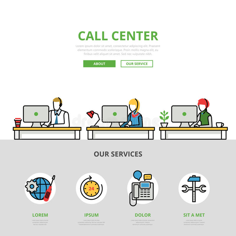 Linear flat User support Call center infographics stock illustration