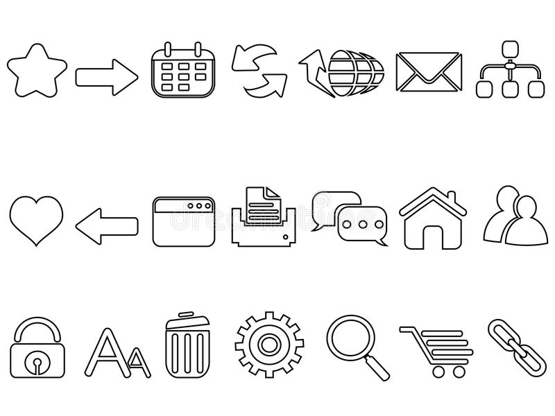 Linear flat web mobile interface app outline icons set royalty free illustration