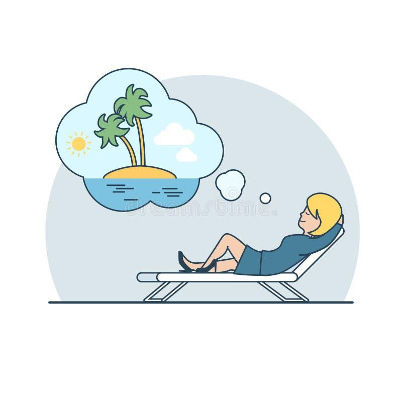 Linear Flat Woman dream vacation island vector. Linear Flat Businesswoman dreaming Vacation on an uninhabited island vector illustration. Business overwork stock illustration