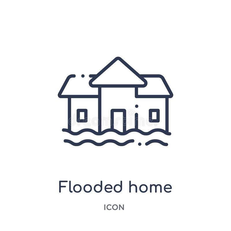 Linear flooded home icon from Meteorology outline collection. Thin line flooded home icon isolated on white background. flooded vector illustration