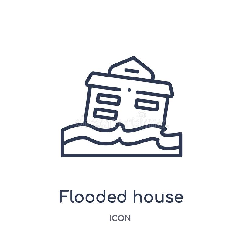 Linear flooded house icon from Insurance outline collection. Thin line flooded house icon isolated on white background. flooded royalty free illustration