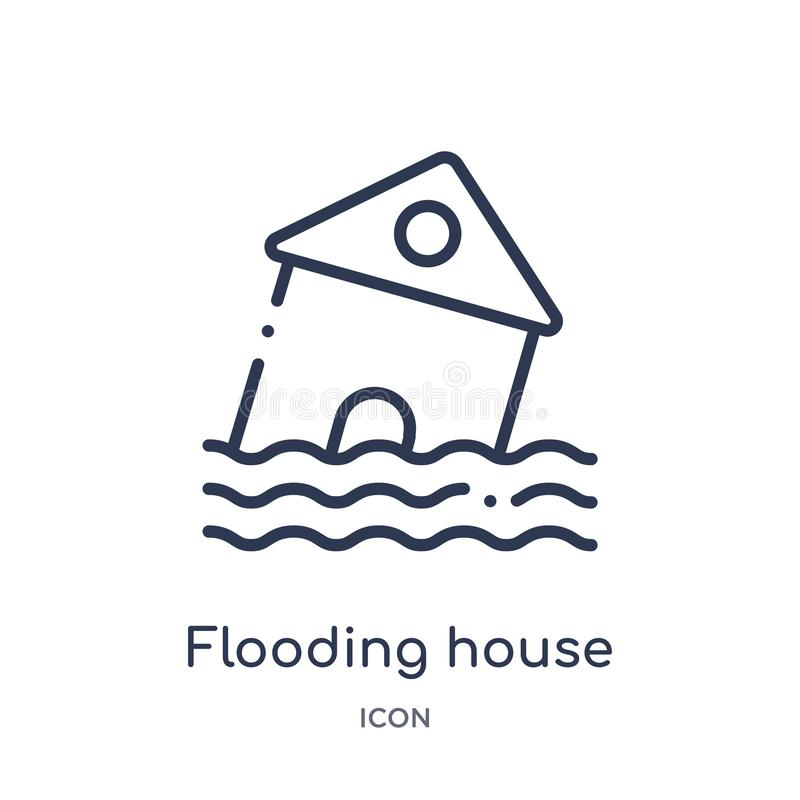 Linear flooding house icon from Meteorology outline collection. Thin line flooding house icon isolated on white background. royalty free illustration