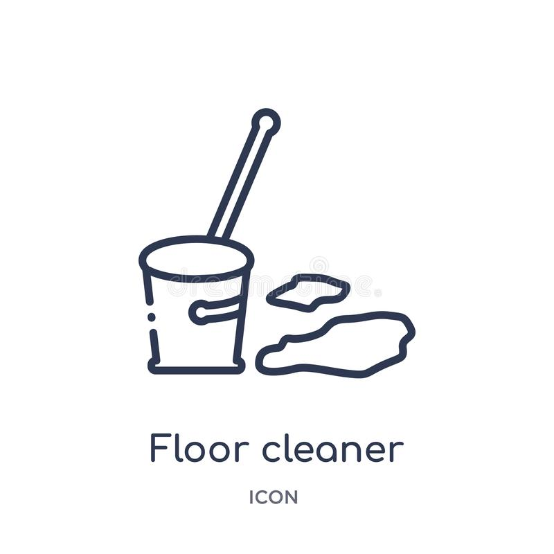 Linear floor cleaner icon from Cleaning outline collection. Thin line floor cleaner vector isolated on white background. floor stock illustration