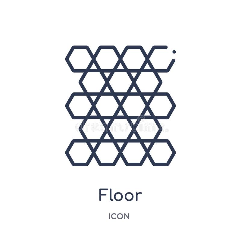 Linear floor icon from Furniture & household outline collection. Thin line floor icon isolated on white background. floor trendy royalty free illustration