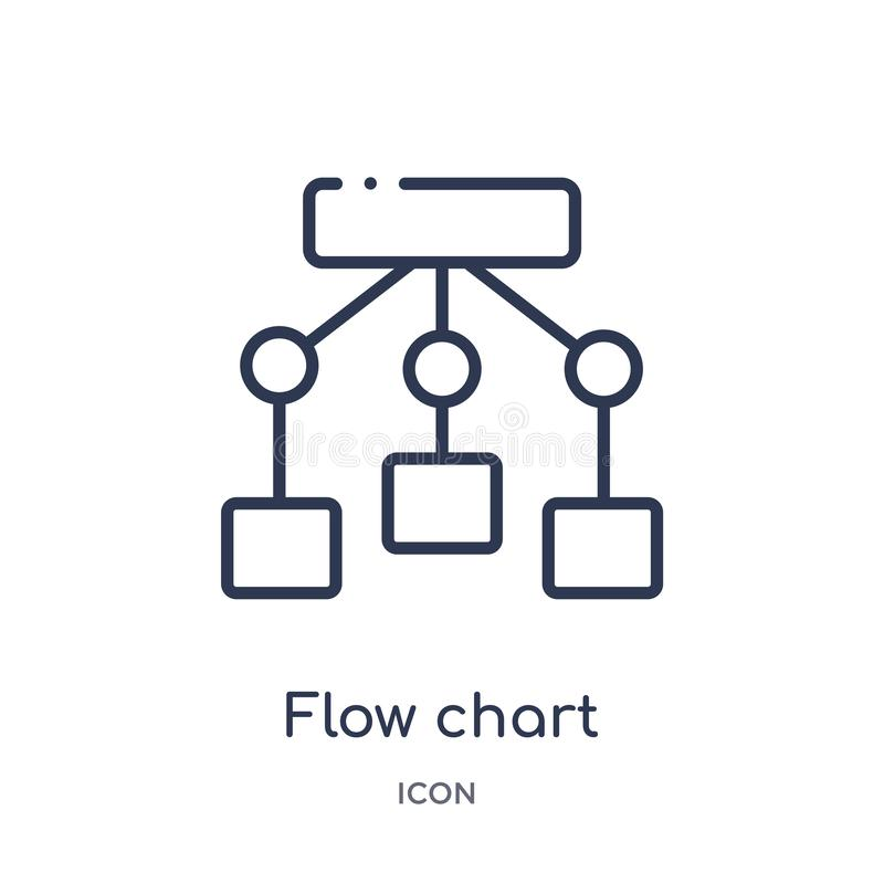 Linear flow chart icon from Business and analytics outline collection. Thin line flow chart vector isolated on white background. Flow chart trendy illustration stock illustration
