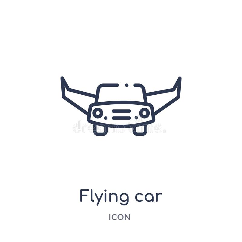 Linear flying car icon from Future technology outline collection. Thin line flying car icon isolated on white background. flying stock illustration