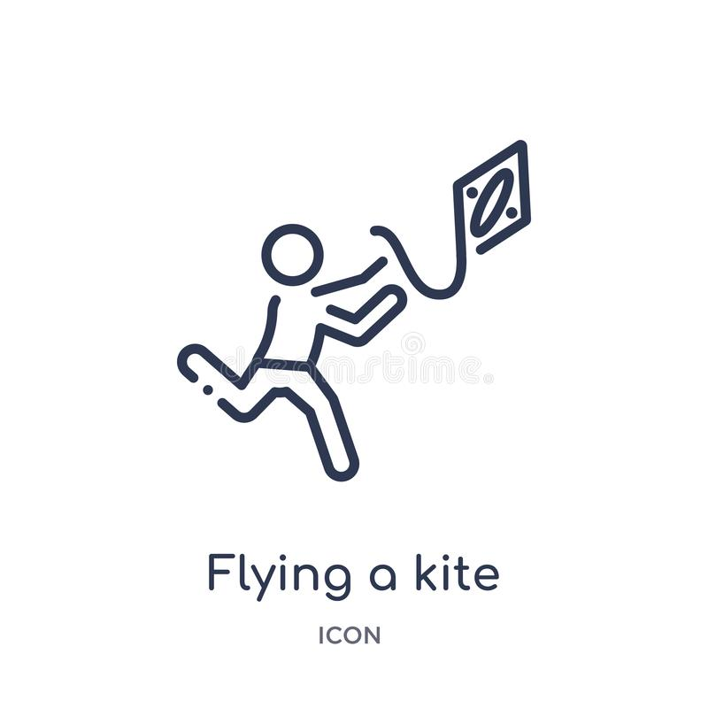 Linear flying a kite icon from Activity and hobbies outline collection. Thin line flying a kite vector isolated on white royalty free illustration