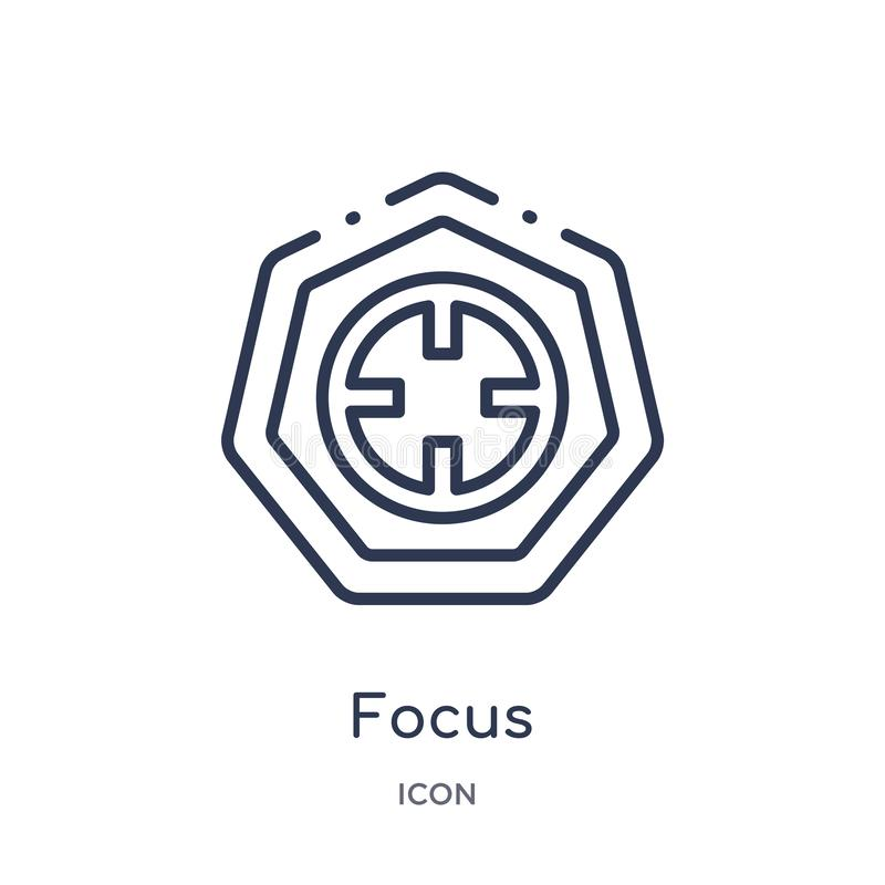 Linear focus icon from Arrows outline collection. Thin line focus vector isolated on white background. focus trendy illustration royalty free illustration