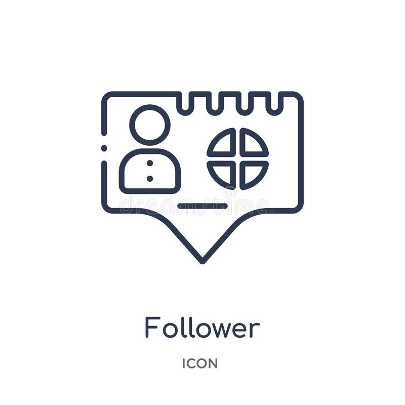Linear follower icon from Blogger and influencer outline collection. Thin line follower vector isolated on white background. royalty free illustration