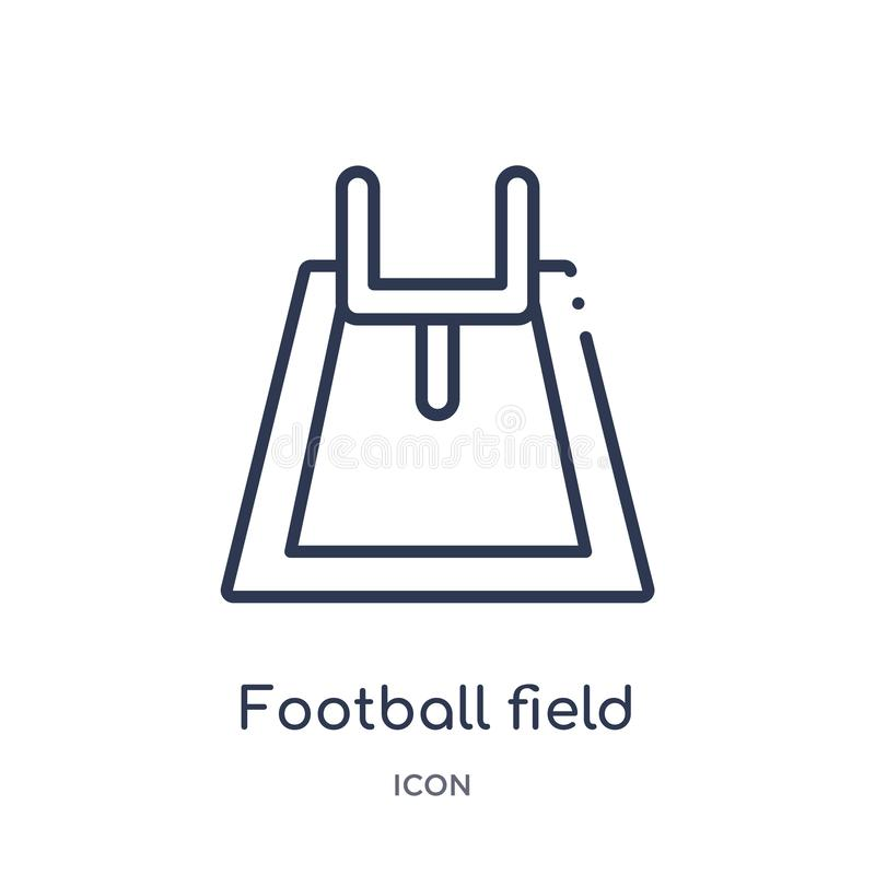 Linear football field icon from American football outline collection. Thin line football field vector isolated on white background royalty free illustration