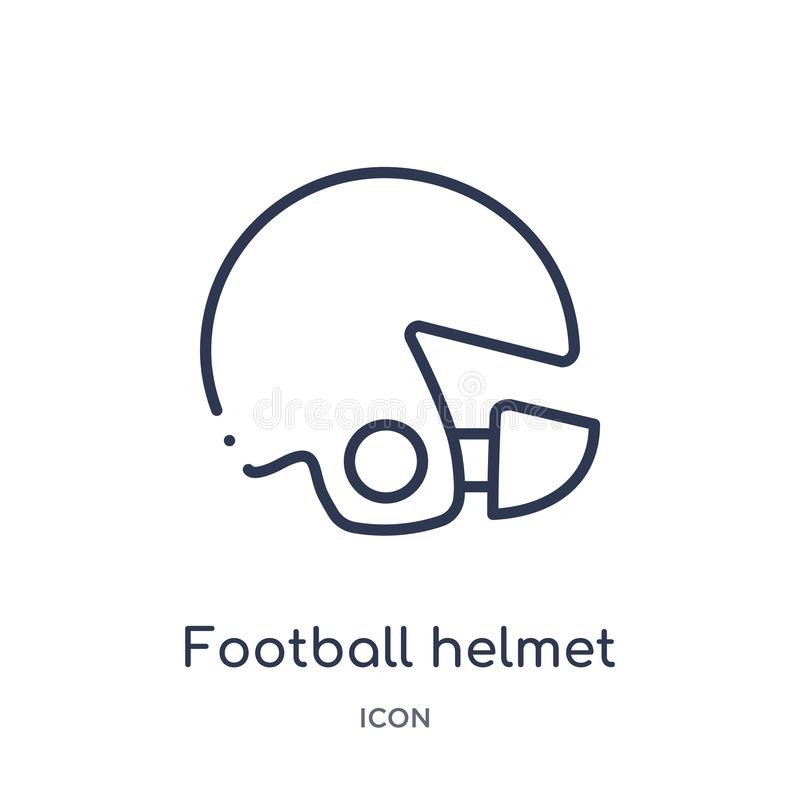 Linear football helmet icon from American football outline collection. Thin line football helmet vector isolated on white. Background. football helmet trendy royalty free illustration