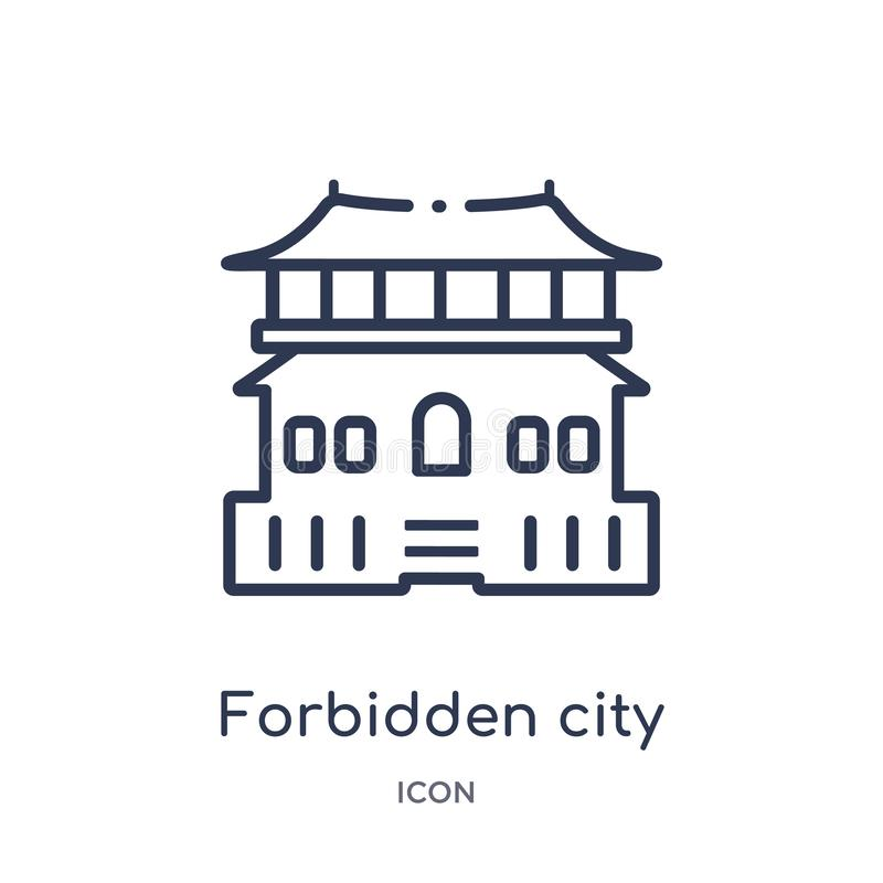 Linear forbidden city icon from Asian outline collection. Thin line forbidden city vector isolated on white background. forbidden stock illustration