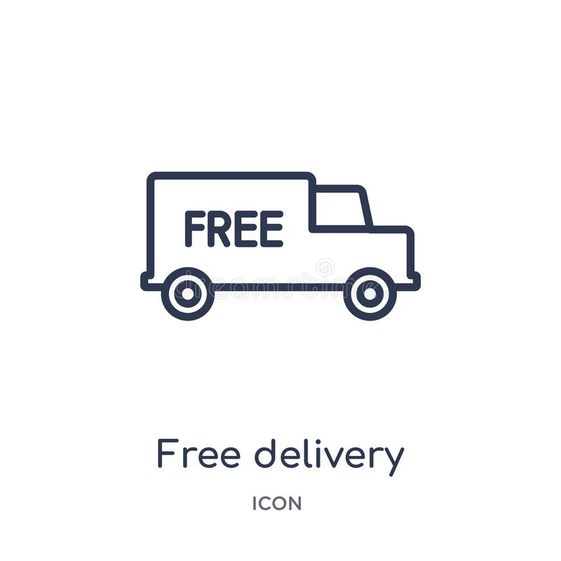 Linear free delivery icon from Delivery and logistic outline collection. Thin line free delivery vector isolated on white vector illustration